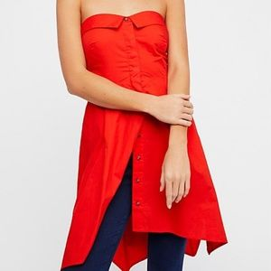 Free People On My Way Strapless Tunic 12 Hot Lava
